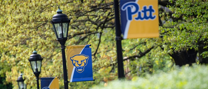 Pitt banners hang from lamp posts