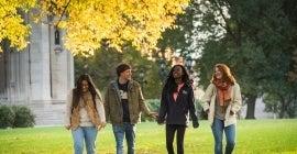 Students walking in fall